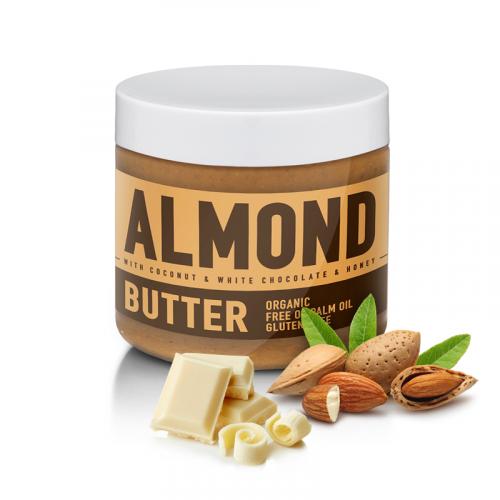 Sizeandsymmetry mandlové máslo s bílou čokoládou, kokosem a medem 500 g